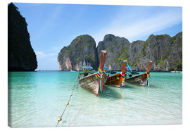 Canvas print  Long tail boats at Maya bay beach, Phi Phi island, Thailand - Matteo Colombo