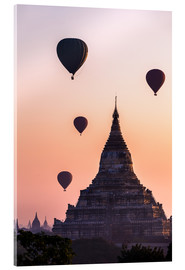Acrylic print  Temple at sunrise with balloons flying, Bagan, Myanmar - Matteo Colombo