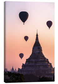 Canvas print  Temple at sunrise with balloons flying, Bagan, Myanmar - Matteo Colombo