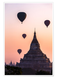 Premium poster Temple at sunrise with balloons flying, Bagan, Myanmar