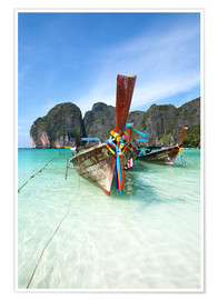 Premium poster Decorated wooden boats, Thailand