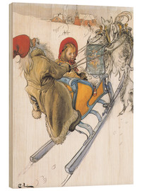 Wood print  Sleigh Ride - Carl Larsson