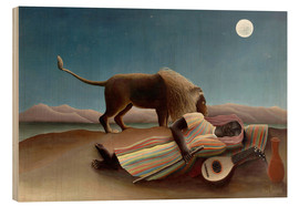 Wood print  The sleeping one - Henri Rousseau
