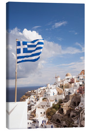 Canvas print  Greek flag and village. Oia, Santorini, Greece - Matteo Colombo