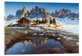 Acrylic glass  Hut and Odle mountains, Dolomites - Matteo Colombo