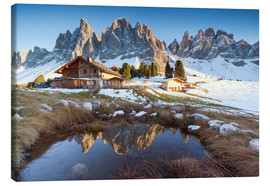 Canvas print  Hut and Odle mountains, Dolomites - Matteo Colombo