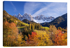 Canvas print  Autumnal Funes valley, South Tirol - Matteo Colombo