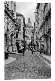 Acrylic print  Budapest - view into an alley with church tower - Frank Herrmann