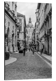 Alu-Dibond  Budapest - view in an alley on the church tower, black and white - Frank Herrmann