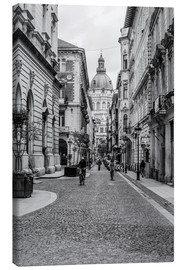 Canvas  Budapest - view in an alley on the church tower, black and white - Frank Herrmann