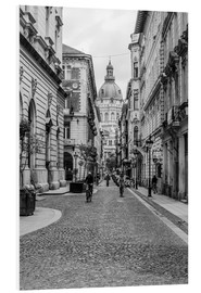 Foam board print  Budapest - view into an alley with church tower - Frank Herrmann