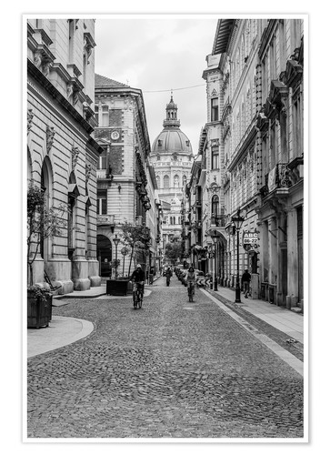 Premium poster Budapest - view in an alley on the church tower, black and white