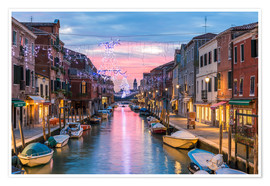 Poster Canal in Venice at Christmas