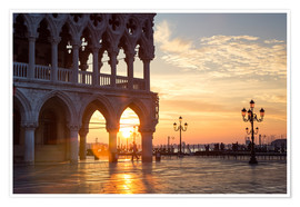 Premium poster Sunrise over Doge's palace, Venice, Italy