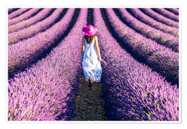 Premium poster Girl in a lavender field