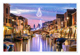 Poster  Canal in Venice at Christmas - Matteo Colombo