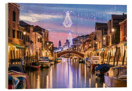 Wood print  Canal in Venice at Christmas - Matteo Colombo