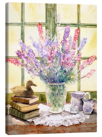 Canvas  Lupins on Windowsill - Julia Rowntree