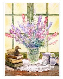 Poster  Lupins on Windowsill - Julia Rowntree