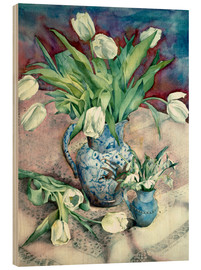 Wood print  Tulips and Snowdrops - Julia Rowntree