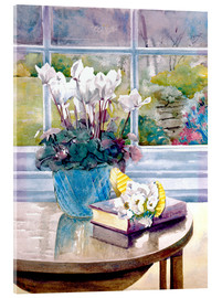 Acrylic glass  Flowers and Book on Table - Julia Rowntree