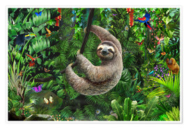 Premium poster Sloth in the jungle