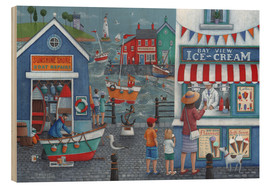 Wood print  Seaside icecreams - Peter Adderley