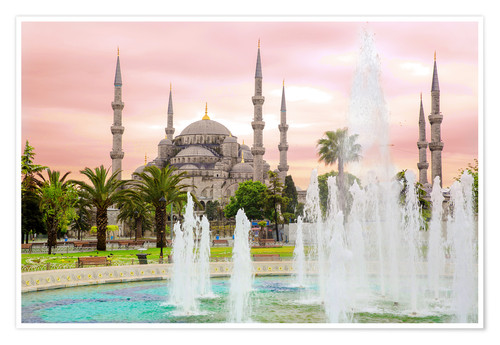 Premium poster the blue mosque (magi cami) in Istanbul / Turkey (vintage picture)