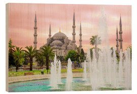 Wood print  the blue mosque (magi cami) in Istanbul / Turkey (vintage picture) - gn fotografie