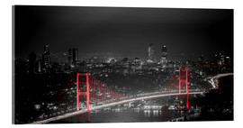 Acrylic glass  Bosporus-Bridge at night - color key red (Istanbul / Turkey) - gn fotografie