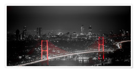 Premium poster Bosporus-Bridge at night - color key red (Istanbul / Turkey)