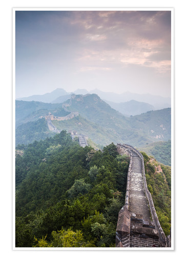 Premium poster Great Wall of China in fog