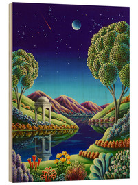 Wood print  Blue Moon Rising - Andy Russell