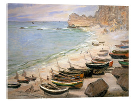 Acrylic glass  Boats on the beach at Etretat - Claude Monet