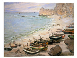 Foam board print  Boats on the beach at Etretat - Claude Monet