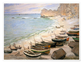 Premium poster Boats on the beach at Etretat