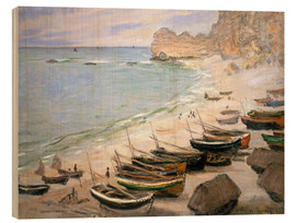 Wood  Boats on the beach at Etretat - Claude Monet