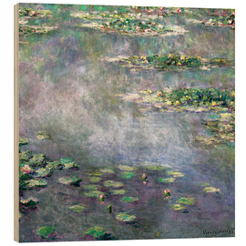 Wood print  Water-Lily pond - Claude Monet