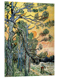 Forex  Pines with Setting Sun and Woman - Vincent van Gogh