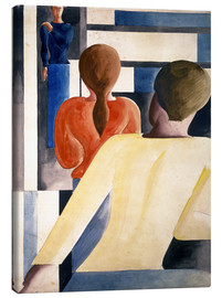 Canvas print  Blue-red-yellow on railing - Oskar Schlemmer