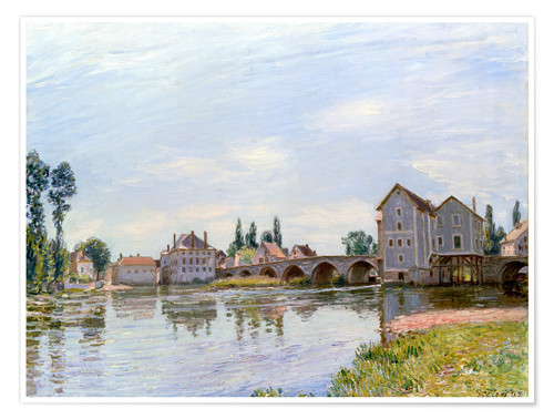 Premium poster River and Bridge, Moret