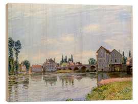 Wood print  River and Bridge, Moret - Alfred Sisley