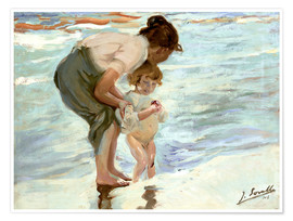 Premium poster Mother and child on the beach