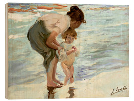 Wood  Mother and child on the beach - Joaquin Sorolla y Bastida