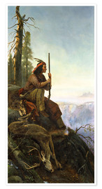 Premium poster  The signal fire (Indian after the hunting) 1880 - William Hahn