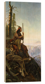 Wood print  The signal fire (Indian after the hunting) 1880 - William Hahn