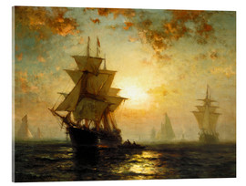 Acrylic print  Sailboats at sunset - Edward Moran