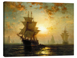 Canvas print  Sailboats at sunset - Edward Moran