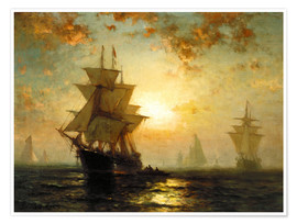 Premium poster  Sailboats at sunset - Edward Moran