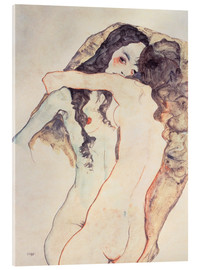 Acrylic glass  Two women in embrace - Egon Schiele